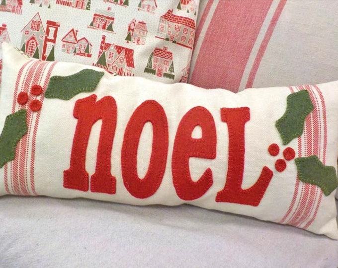 Noel wool applique pillow kit...christmas project, holiday project, home decor, DIY pillow
