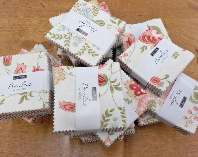 Porcelain mini charm pack by 3 Sisters for Moda Fabrics...factory cut charms, 42--2 1/2 inch squares