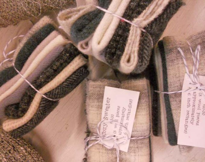 Cozy Sweater...wool bundle...8 pieces measuring approximately 4 x 6 inches