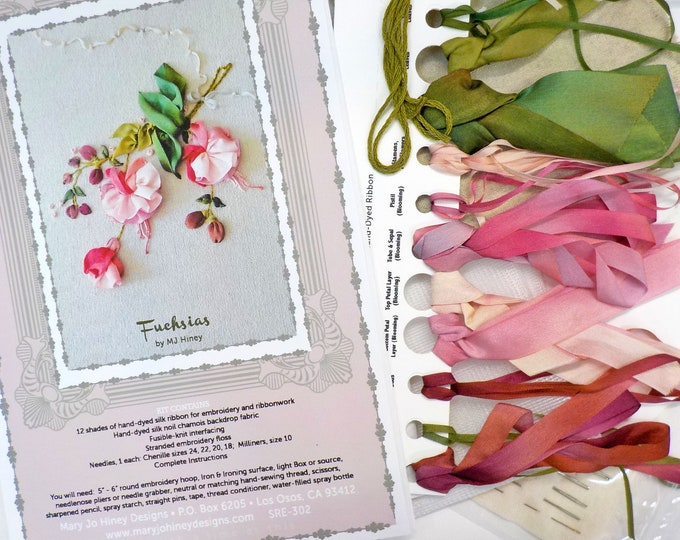 Fushsias by MJ Hiney...the Ribbon Muse...complete kit with instructions
