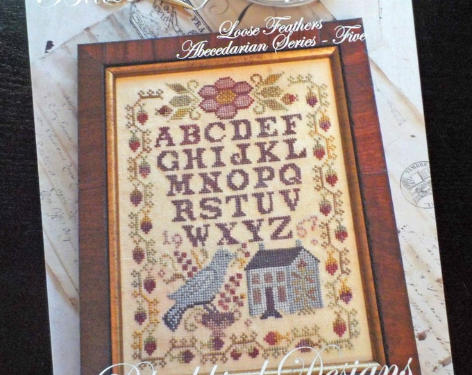 Bluebird of Happiness, Loose Feathers Abecedarian series pattern 5 by Blackbird Designs...cross-stitch design