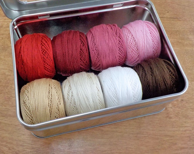Featured listing image: First Crush thread box...featuring 8 DMC perle cotton balls...no 8