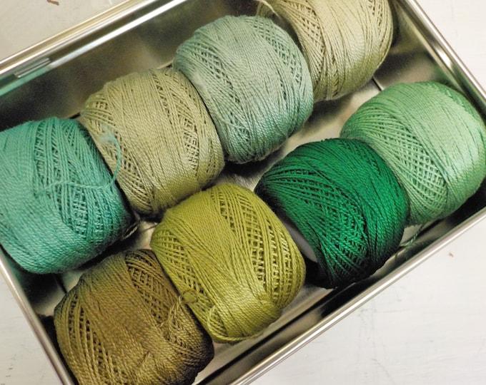 The Growing Season thread box...featuring 8 DMC perle cotton balls...no 8