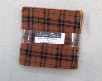 LAST one! Hickory Ridge Collection 1...flannel charm pack...5 inch squares...26 squares...Diamond Textile Wovens