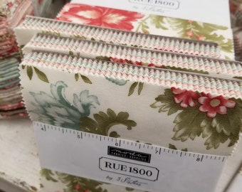 Rue 1800 Charm pack by 3 Sisters for Moda Fabrics...factory cut squares, 42--5 inch squares, precut squares