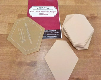 Yellow Creek Hexagon papers and template...1 1/8 x 2 5/8 inch hex papers...108 pieces, laser cut