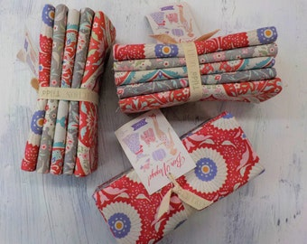 Bon Voyage Red Large prints...5 fat quarters...a Tilda Collection designed by Tone Finnanger