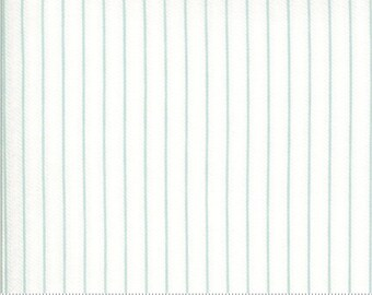 Dover Ticking Stripe Sea Glass 18705 14 by Brenda Riddle for Moda Fabrics