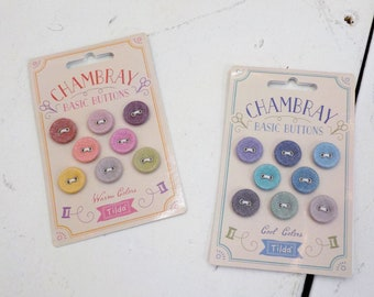 Tilda Chambray basic buttons...designed by Tone Finnanger...8 buttons, warm colors, cool colors