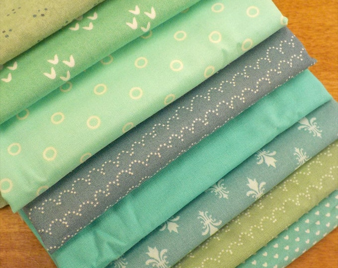 Glacial II exclusive color bundles, 8 fat quarters...teal, aqua, blue, green, mint, turquoise