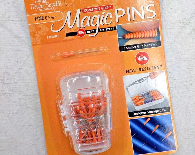 Magic Pins, Taylor Seville Originals...silk pins, fine, .5mm x 36mm, 50 pins, comfort grip, heat resistant, designer storage case