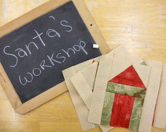 Week 4 Santa's Workshop..Christmas Morning Quilt Along...PDF block pattern