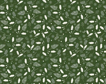 Yuletide Leaves Green C9634-GREEN by My Mind's Eye for Riley Blake Designs...christmas, classic christmas