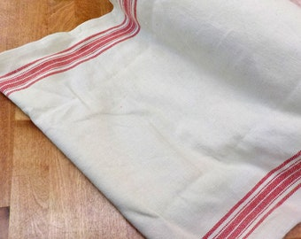 Rural Jardin 16 inch toweling natural with rouge stripes by Moda Fabrics