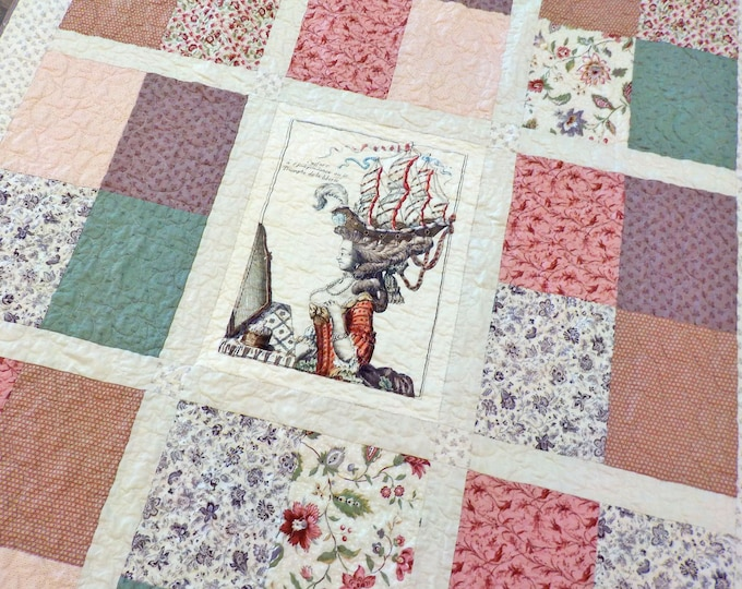 Marie's Garden Throw quilt kit featuring the Marie Antoinette panel...pattern designed by Mickey Zimmer