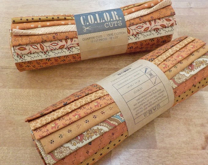 LAST ONE! Color Cuts by Moda Fabrics...Pecan Pie bundle, 12 fat quarters, factory cut, orange and gold bundle