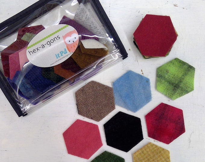 In the Patch...wool hex-a-gons...1 inch, 1 1/2 inch, 2 inch...72 total laser cut pennies...combo pack