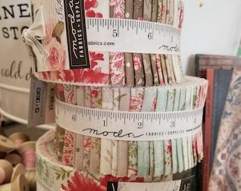 Rue 1800 Jelly Roll by 3 Sisters for Moda Fabrics...factory cut roll, 40--2 1/2 inch strips, precut strips