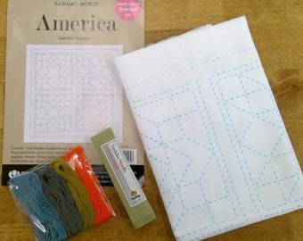Sashiko World, America, Sampler Square Embroidery starter kit by Tuilip...preprinted fabric, thread, needle