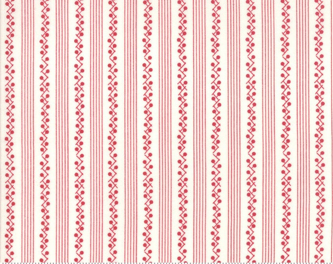 My Redwork Garden Cream Red 2954 13 designed by Bunny Hill Designs for Moda Fabrics