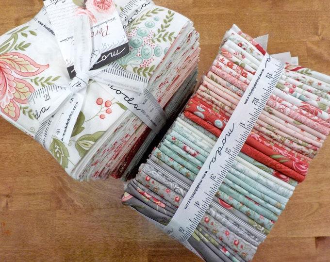 Porcelain fat quarter bundle by 3 Sisters for Moda Fabrics...factory cut bundle, fat quarter tower, 40 fat quarters