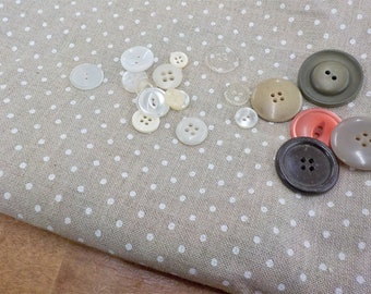 Belfast Linen, natural raw with white dot, 32 ct, Fat Quarter, 100% linen, cross stitch linen