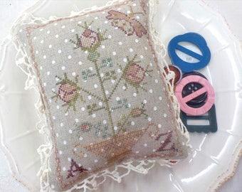 My Pink Rose, Reward of Merit Pinkeep, by Blackbird Designs...cross stitch pattern, cross stitch kit, kit complete