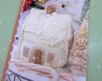 Lacy Wool Cookie House Pincushion by Meg Hawkey of Crabapple Hill Studio