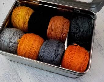 October 31st thread box...featuring 8 DMC perle cotton balls...no 8...halloween