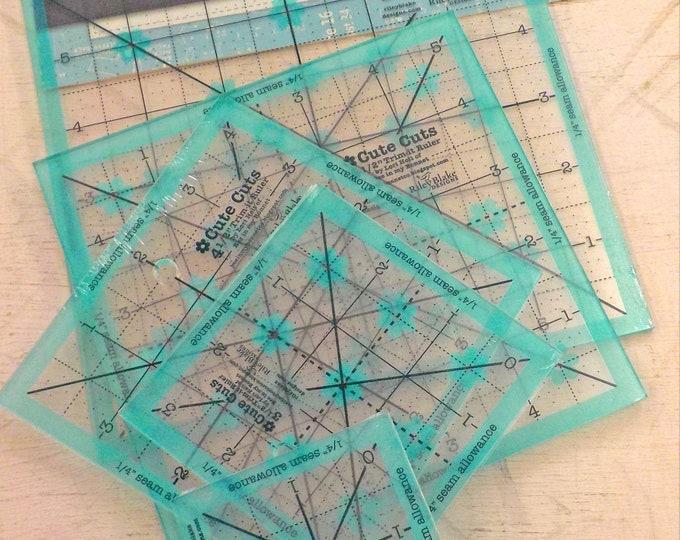 Cute Cuts by Lori Holt of Bee in My Bonnet...aqua, 5 rulers, non-slip