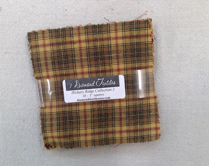 LAST one! Hickory Ridge Collection 2...flannel charm pack...5 inch squares...26 squares...Diamond Textile Wovens