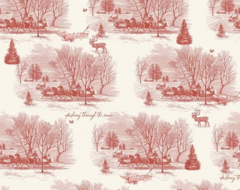 Yuletide Sleigh Toile Cream C9631-CREAM by My Mind's Eye for Riley Blake Designs...christmas, classic christmas