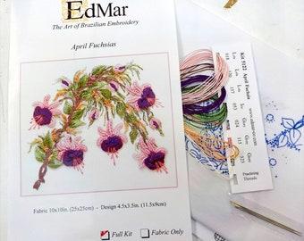 April Fuchsias...EdMar kit #5122...Brazilian embroidery