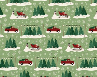Christmas Traditions Main Green C9590-GREEN by Dani Mogstad for Riley Blake Designs...christmas truck