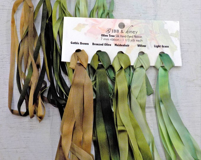 Olive Tree ribbon set...Gibb & Hiney, hand-dyed silk ribbon, 5 colors, 2 widths