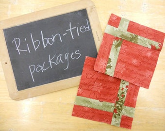 Week 7 Ribbon-Tied Packages...Christmas Morning Quilt Along...PDF block pattern