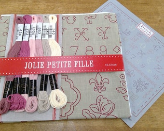 Jolie Petite fille embroidery kit featuring Chafarcani Linen and Cosmo floss designed  by French General for Moda Fabrics