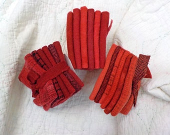 Wool 6-Pack...6 coordinating wools approximately 6 1/2 x 7 1/2 inches...3 red options