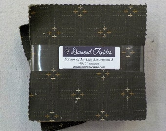 Scraps of My Life Assortment #3...charm pack...5 inch squares...40 squares...Diamond Textile Wovens