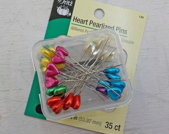 Dritz Heart Pearlized Pins...35 pins, size 34--2 1/8 inch, multi colored