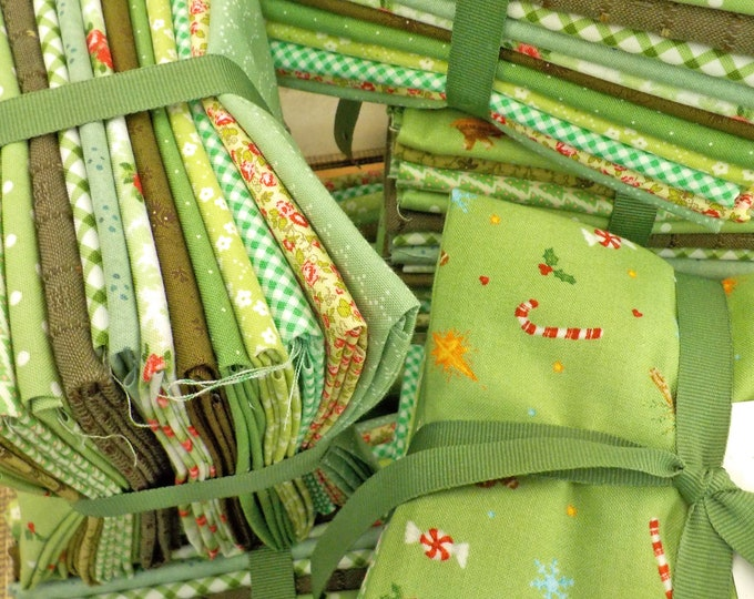 Evergreens...14 fat quarter bundle of green Christmas prints...exclusive grouping