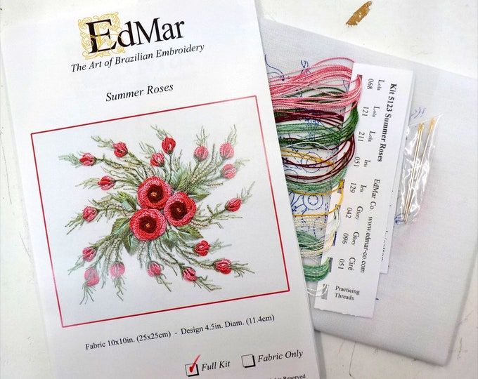 Summer Roses...EdMar kit #5123...Brazilian embroidery
