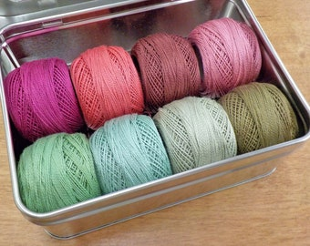Geranium thread box...featuring 8 DMC perle cotton balls...no 8