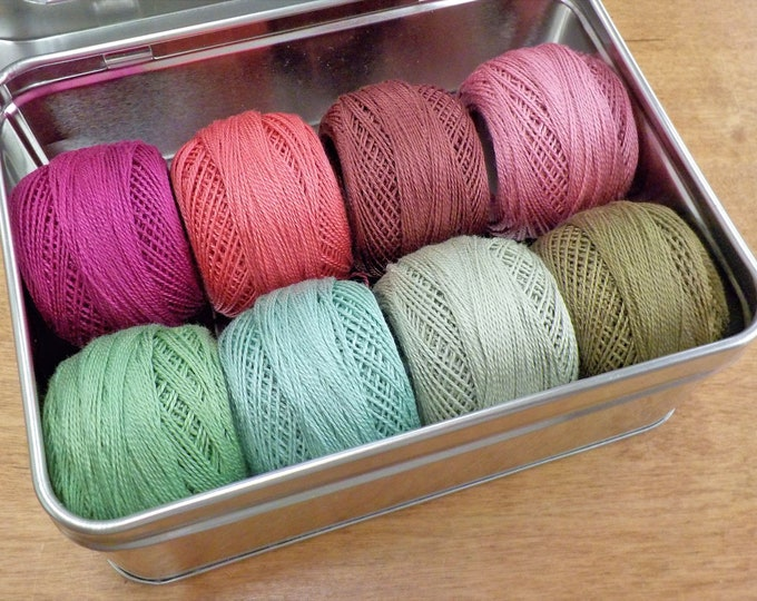 Geranium thread box...featuring 8 DMC perle cotton balls...no 8