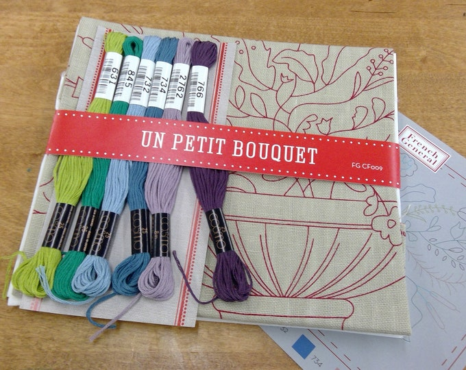 Un Petite Bouquet embroidery kit featuring Chafarcani Linen and Cosmo floss designed  by French General for Moda Fabrics