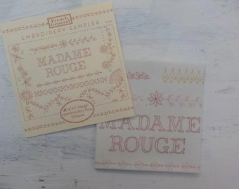 Madame Rouge embroidery sampler by French General for Moda Fabrics