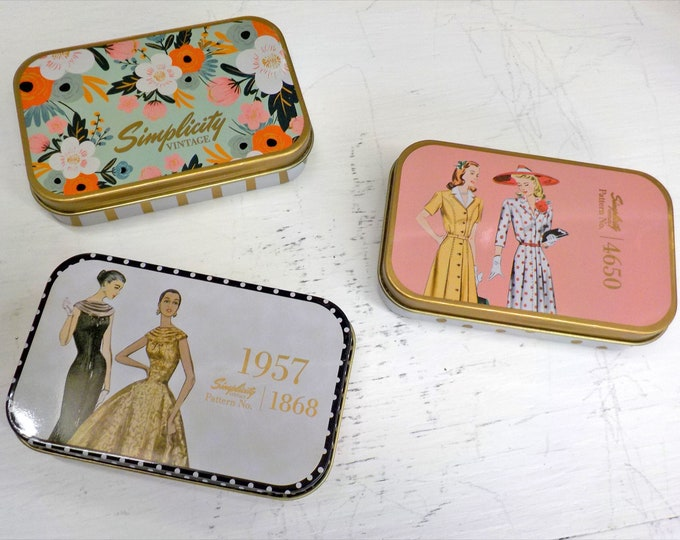 Magnetic Tin...Simplicity Vintage collection...3 designs