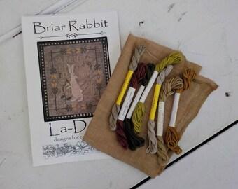 Briar Rabbit by La-D-Da...cross stitch kit, linen, thread, and chart