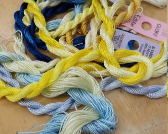 Sunshine and Blueberries Thread Pack of 10 skeins of Edmar Thread.