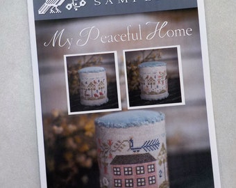 My Peaceful Home by Plum Street Samplers...cross stitch pattern, house cross stitch, pin drum cross stitch pattern
